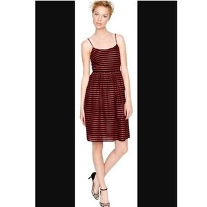 Red and black striped fitted bodice dress